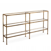 Jabre Sofa Table features a Gold Gilded Steel Frame with Inset Tempered Glass Shelves.