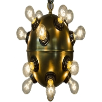 "Najib Ceiling Light- Antique Brass Ball Fixture for 16 Bulbs 16 Bulbs- ""B"" Base, 25W max ea"