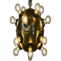"Najib Ceiling Light- Antique Brass Ball Fixture for 16 Bulbs 16 Bulbs- ""B"" Base, 25W max ea"
