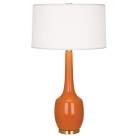 Rada Ceramic Table Lamp Shown in Pumpkin with Barrel Shade Fixture Holds 1 A lamp. 150w max (Not Included) U.L. Listed