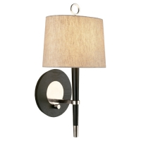 Rachel Single Light Wall Sconce with Ebonized Wood Accent and Linen Shade Featured in Polished Nickel Fixture Holds 1 G16 Bulb, 60 Watt Max (Not Included). U.L. Listed