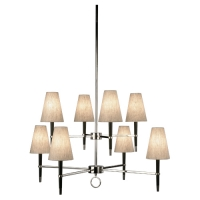 Rafer Modern 8 arm Chandelier Featured in Polished Nickel with Ebonized Wood and Linen Shades Fixture Holds 8 B Lamps, 25w max (Not Included) U.L. Listed