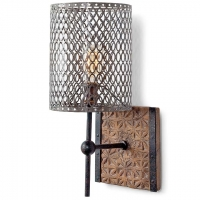 Primative Carved Wood Wall Sconce with Metal Shade. Fixture Holds 1 A Bulb, 60 Watt Max (not Included). U.L. Listed