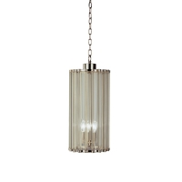Rae Pendant Light in polished Nickel with Glass Rod Diffusers. Fixture holds 5 B lamps, 60w max ea (Not included) U.L. Listed