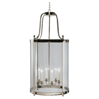 Rafe XL Transistional Lantern Featured in Polished Nickel Fixture Holds 6 B Lamps, 60w max (Not Included) U.L. Listed