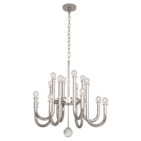 Raewyn Modern Small Scale Chandelier Featured in Polished Nickel Fixture Holds 16 G16.5 Bulbs, 25w max ea (Not Included) U.L. Listed
