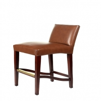 Sabah- Bar Stool with Classic Clean Lines and Solid Wood Frame.  Shown in Leather