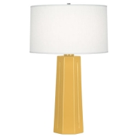 Rachana Ceramic Table Lamp Shown in Sunset Yellow with Barrel Shade Fixture Holds 1 A Lamps, 150w max (Not Included) U.L. Listed