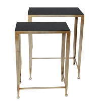 Nesting Tableswith Silver Leaf Finish and Inset Black Stone Tops