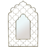 Mirror, Moroccan Styling with Open Fret Frame and Gold Finish