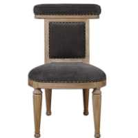 Uriel Accent Chair Features a Solid Bleached Oak Frame with Charcoal Velvet like Chenille Upholstery with antique brass Nail Detail.  This an ideal chair for a dressing room.