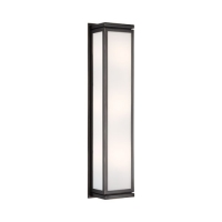 Rahm- Medium Box Style Wall Sconce Featured in Bronze Finish Fixture Holds 3 B11 Torpedo Bulbs, 60 Watts Ea (Not Included). U.L. Listed