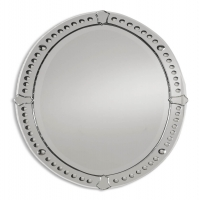 "Ume Wall Mirror is frameless and features curved, beveled mirrors with small round convex and tulip shaped mirror accents.  The Center mirror has a generous 1.25"" bevel."