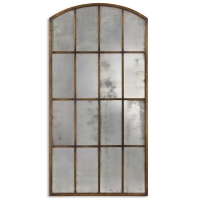 U Warehouse Mirror features a hand forged metal frame with heavily distressed gold/bronze finish. The Glass is Antiqued Mirror. Very Large item.