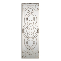 U Scroll Decorative Wall Mirror has a Hand Forged Metal Frame with Detailed Scrollwork. The Frame is finished in aged white paint with dark undertones. The Mirro can be hung horizontal or vertical.