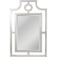 Edda Wall Mirror features a Beveled Mirror frame surrounding a center functional mirror. The Mirror has strong Hollywood Rengency Styling.