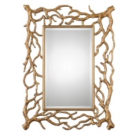 Ulyciana Wall Mirror features a tree branch form frame with antique gold leaf finish.  The Center mirror is beveled.  The Mirror can be hung horizonal or vertical.