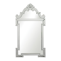 Edana Accent Wall Mirror features a cut mirror frame surrounding a center mirror.  This is a great Modern Venetian Style Mirror.