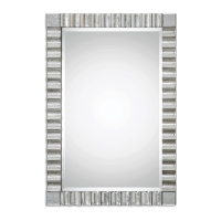 """Umika Wall Mirror has a Scalloped Profile frame Constructed of Hand Beveled, Antiqued Mirrors. Center Mirror has a generous 1.25"""" bevel. This Mirror can be hung horizontal or vertical."""