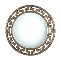 Eben Wall Mirror features a Greek Key like Gold Gilded Frame with Center Bevel Mirror.