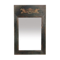 Edwin Wall Trumeau Mirror Features a Hevaily Distressed Wooden Frame with Gilded Scroll Applique at top.
