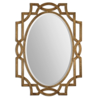 "U Fret Wall Mirror's frame is hand forged metal with Heavily Antiqued Gold Leaf Finish.  The Center Mirror has a generous 1.25"" Bevel."
