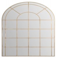 U Grand Wall Mirror Features a Hand Forged Metal Frame with Antique Gold Finish. This Mirror can sit on the floor or be mounted to the wall.