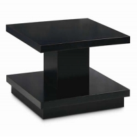 Cowdan Coffee Table- Slab Wood Table with Waxed Black Finish.  Large Scale perfect for Bunching in a large space