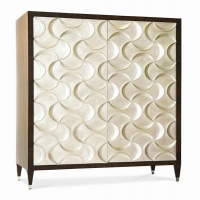 """CaspianMedia Cabinet- Mahogany Case and Interior featuring 6 Drawers and an electrical outlet. The Pocketing Doors have a beautiful bow pattern with applied Silver Leaf Finish. Handles are concealed in the Bows. Accomodates up to a 50"""" TV."""