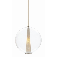 Abbatha 1- Single Pendant- Glass Globe with Polished Nickel Hardware and Cone Detail Holds 1 B Lamp- 60 Watt Max (Not Included)
