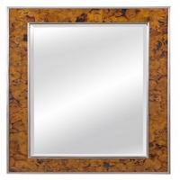 Early Wall Mirror Features a Center Bevel Mirror Framed by Beautiful Penshell with Silver Leaf Boarders.