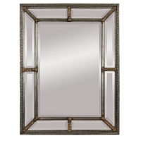 Eavan Wall Mirror Features a Beveled Center Mirror Framed by Perimeter Beveled Mirrors imbeded in a Carved Wood with Silver Gilt Fame with Gold Accents.