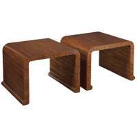 Ebba Bunching Cocktail Tables are Constructed of Hadwoods veneered in Zebrano Wood.  Classic Modern Waterfall Shape.