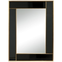 Ece is a Beautiful Transistional Mirror with Black Mirrored Frame boardered by Gold Gilt accents.