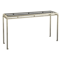 Eden S Console Table is a Sophisticated Classic Iron Framed Table with Inset Tempered Glass top.