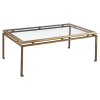 Eden G Cocktail table is a Sophisticated Classic Iron Framed Table with Tempered Glass Top.