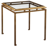 Eden G Side Table is a Sophisticated Classic Iron Framed Table with Gold Leaf Finish with Inset Tempered Glass Top.