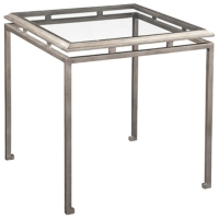 Eden S Side Table is a Sophisticated Classic Iron Framed Table with Inset Tempered Glass Top.