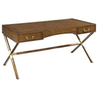 Edge W is a Classic Campaign Style Writing Desk In Walnut With Bass Accents. The Desk has 2 functioning side drawers.