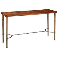 Edie Console Table is a Beautiful Transistional Table Featuring a Brass Base with a Flamed Mahogany Top.