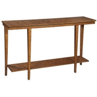 Edith Console Table Features Clean Modern Lines with Tapered Legs and a Bottom Shelf all in Eucalyptus Wood.
