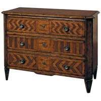 Edmund is a Beautiful Chest of 3 Drawers Constructed of Hardwoods Veneered in Zebrano, Walnut and Elm Woods.