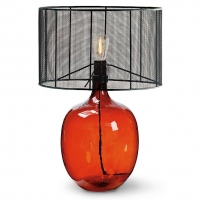 Amber Glass Vessel Lamp with Metal Wire Shade Fixture Holds 1 A Bulb, 60 Watt Max (Not Included). U.L. Listed