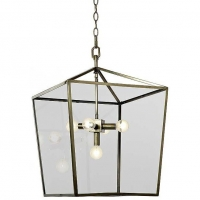 Modern Angular Lantern avail in Brass Fixture Holds 5 B Lamps, 60 Watt Max EA (Not Included). U.L. Listed
