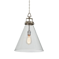 Conical Hand-Blown Glass Pendant Light with Antique Nickel hardware. Fixture Holds 1 A Lamp, 40 Watt Max (Not Included)