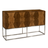 Jaclyn Sideboard features 4 doors veneered along with the case in Golden Modrona Wood atop a Stainless Steel Box Frame. The Doors have soft close hinges and each Compartment has an adjustable shelf.