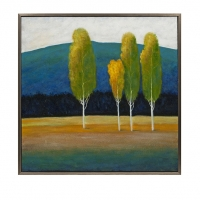SPRING- Framed Oil Painting in Brilliant Golds and Blues.  High Lacquer FInish with Silver Leaf Frame.