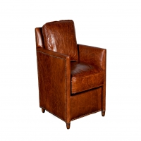 Uchenna Leather Smaoking Chair is a classic European Style Frame covered in beautiful distressed whisky color leather.