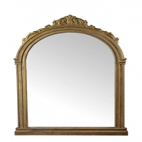 Calandra Wall Mirrorhas a Substantial Carved Wood framer with Strong French Styling. The Frame has a Hevily Distressed Gold Gilded FInish.