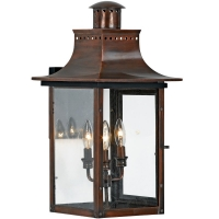 Queenie Large Exterior Wall Lantern is Avail as Shown in Antique Copper. Queenie is NOT avail in Gas. (3) 60W B-Bulbs are required but not included.